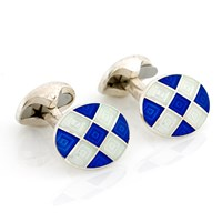 Royal Blue & Ivory Checked Sterling Silver Cufflinks