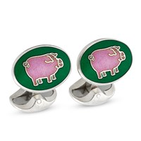 Pink Pig on Emerald Oval Sterling Cufflinks