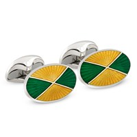 Green & Yellow Quartered Sterling Silver Cufflinks