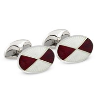 Maroon & Ivory Quartered Oval Sterling Cufflinks
