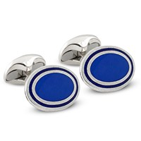 Sterling Silver Cufflinks with Royal Blue Enamel and Navy Outline
