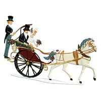 Pewter Happy Couple in Carriage