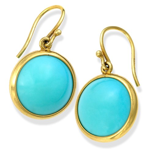 18k Gold Smooth Turquoise Drop Earrings