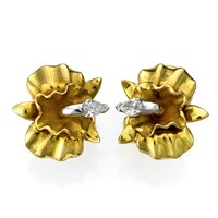 18k Gold Orchid Earrings with Diamond Center