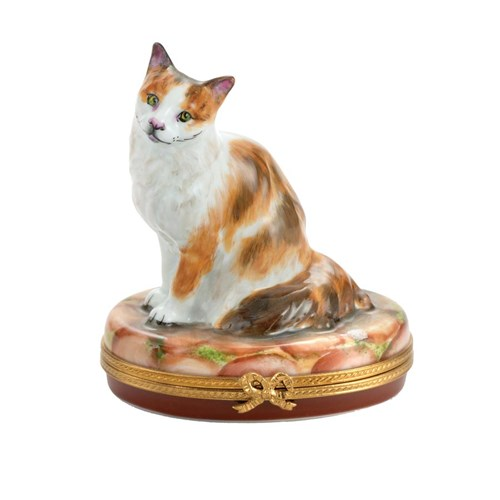 American Curl Cat on Stones Limoges Box, Limited Edition