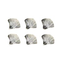 Silverplate Ginkgo Leaf Place Card Holders, Set of Six