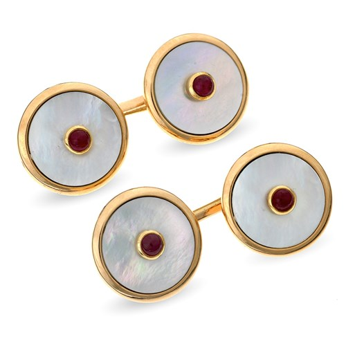 18k Rose Gold Mother of Pearl Cufflinks with Ruby Center