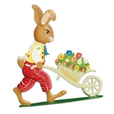Pewter Bunny Pushing Cart