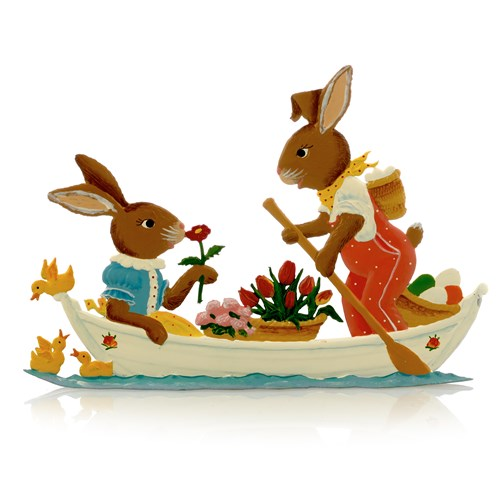 Pewter Bunny Couple in a Boat