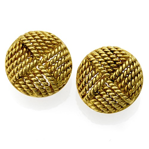 "18k Gold ""Woven Button"" Earrings"