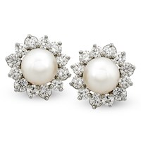 Pearl & Diamond Flower Earrings, Clips