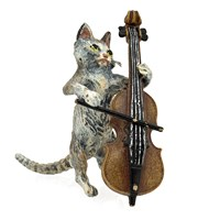 Austrian Bronze Cat with Bass Figurine