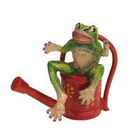Austrian Bronze Frog on Red Watering Can Figurine