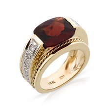 18k Gold Garnet & Diamond Band Ring