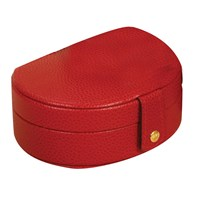 Small Oval Leather Jewelry Case Red