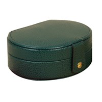 Small Oval Leather Jewelry Case Green