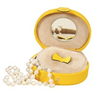 Small Oval Leather Jewelry Case Yellow