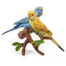 Austrian Bronze Small Parakeets on Branch Figurine