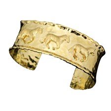 18k Yellow Gold Horse Cuff