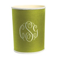 Grass Green Linen with White Wastebasket