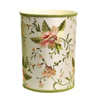 Blooming Embroidered Silk Wastebasket