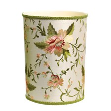 Blooming Embroidered on Ivory Silk Wastebasket