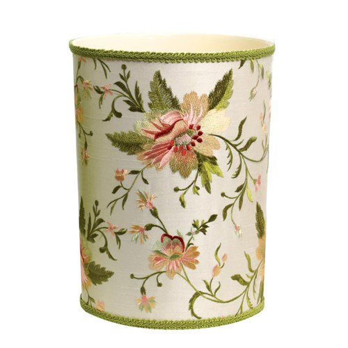Blooming Embroidery on Ivory Silk Wastebasket