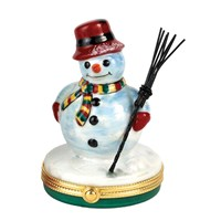 Snowman with Metal Broom Limoges Box