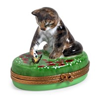 Cat Playing with Butterfly Limoges Box