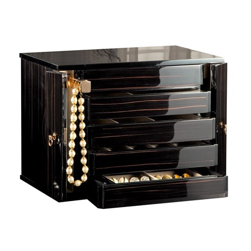 Oro Nero Polished Jewel Chest, Ebony