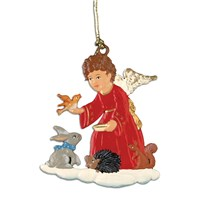 Pewter Angel with Animal Friends Ornament