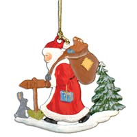 Pewter Santa In Forest Ornament