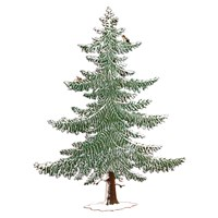 Pewter Winter Pine Tree with Two Birds - Large