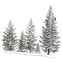 Pewter Winter Pine Group with 5 Trees