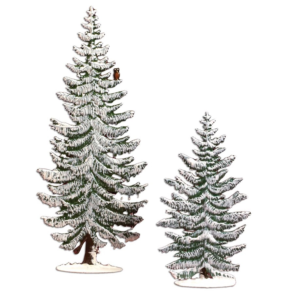 Scully & Scully Slender Winter Pine Trees with Owl and Bird