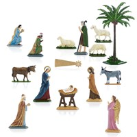 Pewter Dimensional Nativity Set - 15 Piece Set