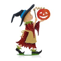 Pewter Halloween Child with Wand & Pumpkin