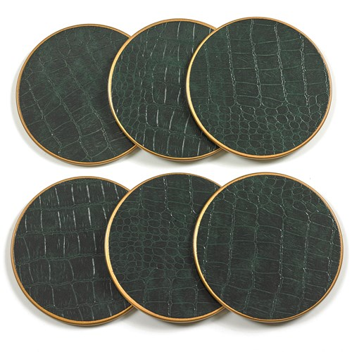Crocodile Round Coasters, Green - Set of 6
