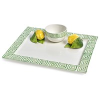 Green Greek Key with Lemons Chip & Dip