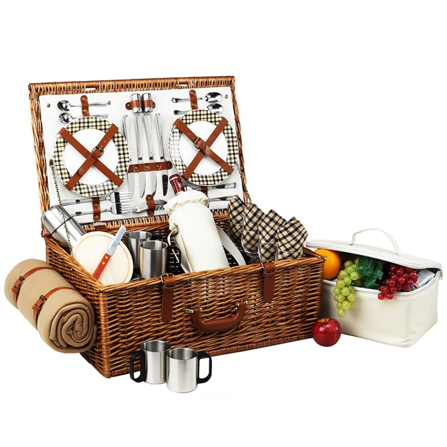 Picnic Basket Wedding Gift : Rivington picnic basket for four with coffee blanket