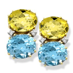 18k Gold Blue Topaz & Lemon Citrine Reversible Earrings