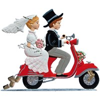 Pewter Young Love on Moped Bride