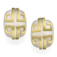 "18k Gold Crystal Rectangular ""Aztec Pattern"" Clip Earrings"