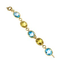 18k Yellow Gold Blue Topaz & Lemon Quartz Bracelet