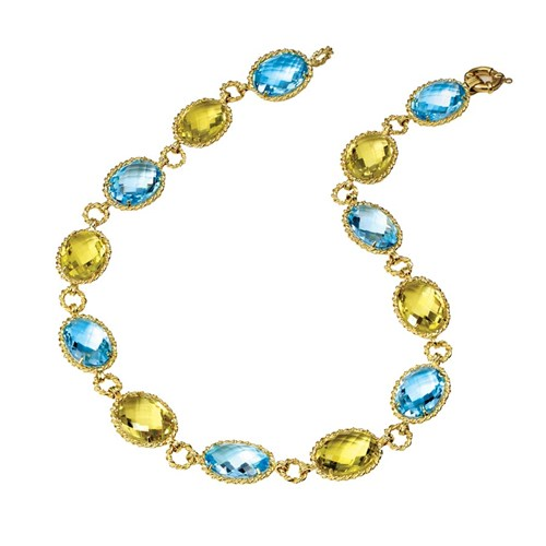 18k Yellow Gold Blue Topaz & Lemon Quartz Necklace