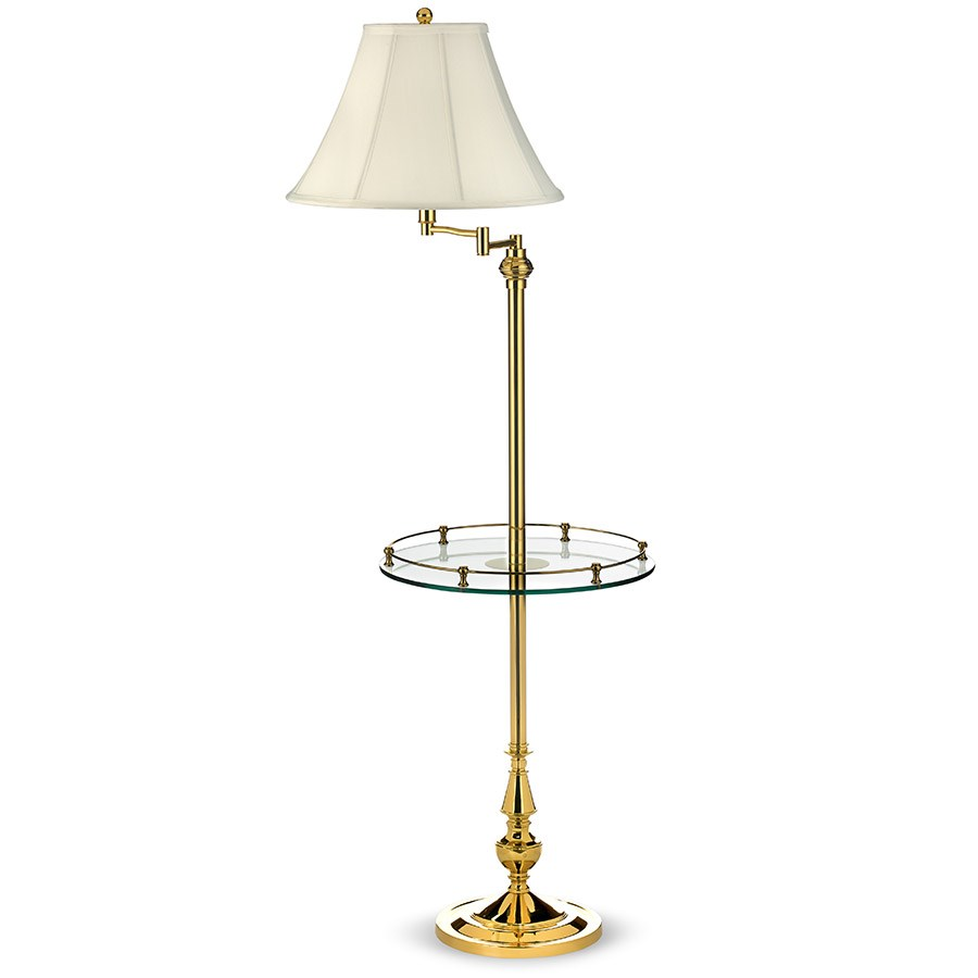 Amazing Brass Floor Lamp With Glass Tray Table. Hover To Zoom