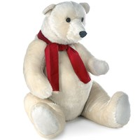 Polar Bear Sitting with Red Scarf