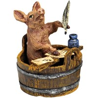 Austrian Bronze Pig In Bucket Writing Letter Figurine