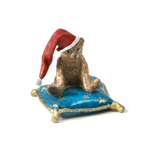 Austrian Bronze Bear on Pillow with Santa Hat Figurine