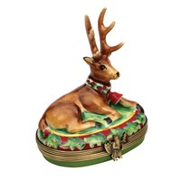 Oval Reindeer with Wreath Limoges Box